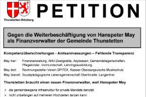 Petition gegen die Weiterbeschäftigung des Finanzverwalters