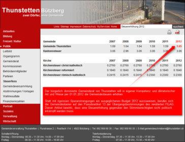 Skandalöse Steuererhöhung in Thunstetten