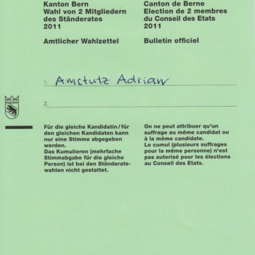 Mein Abstimmungszettel für die kantonalbernische Abstimmungsvorlage vom 9. Februar 2014