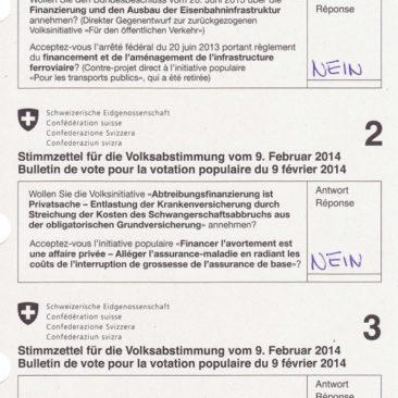 Mein Abstimmungszettel für die eidgenössischen Abstimmungsvorlagen vom 9. Februar 2014